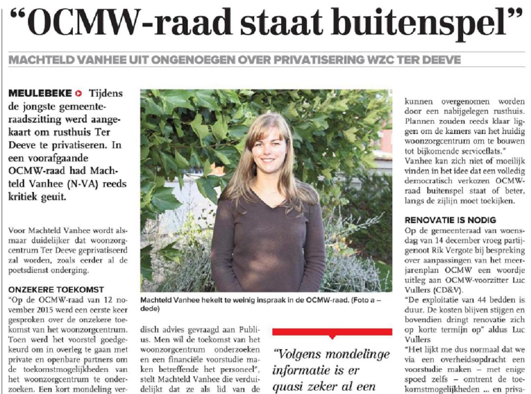 OCMW raad Buiten spel gezet